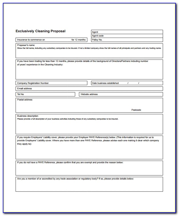 Free Cleaning Bid Proposal Template
