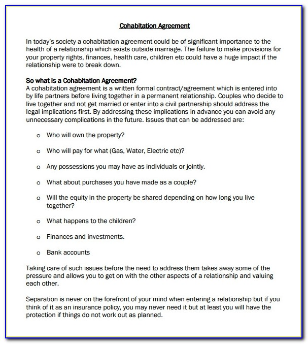 Free Cohabitation Agreement Template South Africa