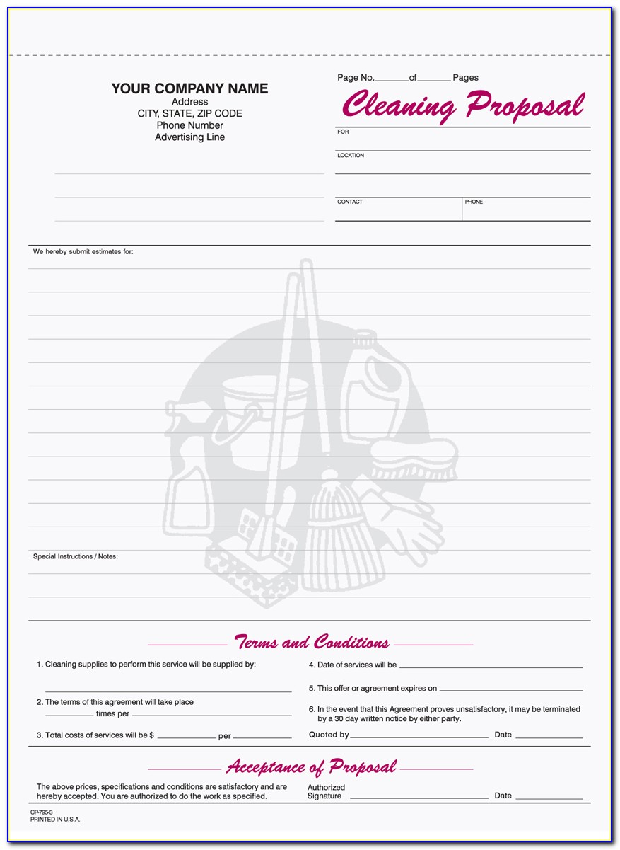 Free Commercial Cleaning Bid Forms