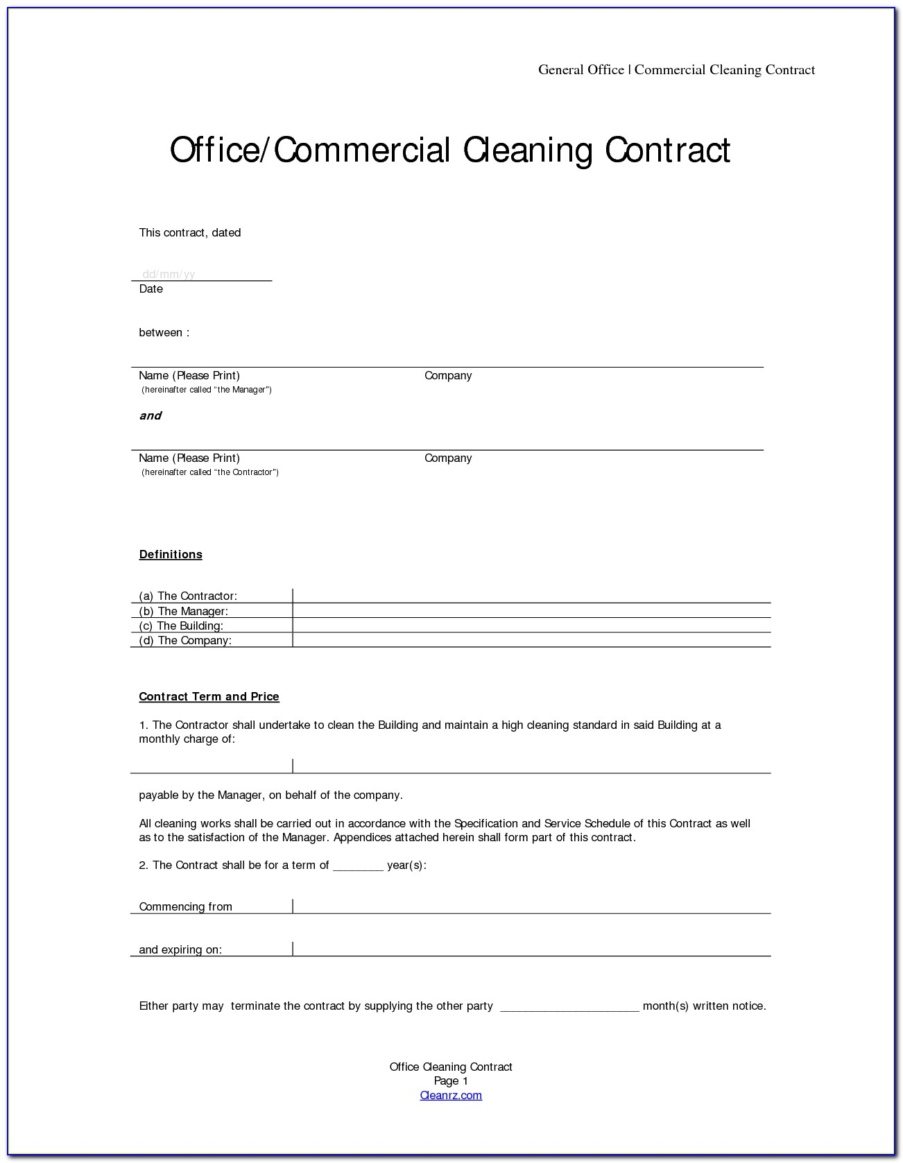 Free Commercial Cleaning Contract Template