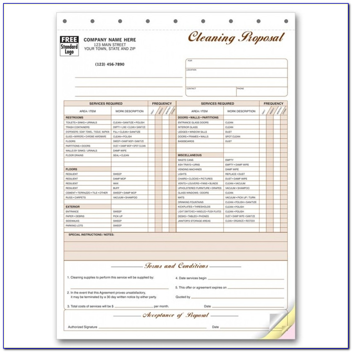 Free Commercial Cleaning Proposal Forms