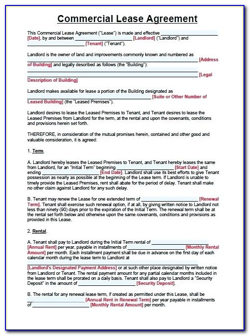Free Commercial Lease Agreement Template Word Uk