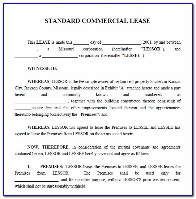 Free Commercial Property Lease Agreement Form