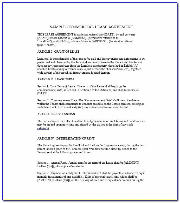 Free Commercial Rental Lease Agreement Templates