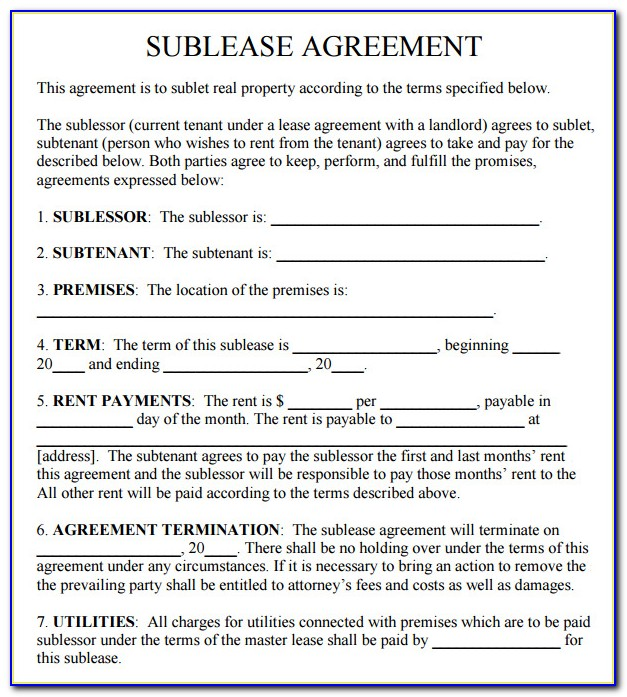 Free Commercial Sublease Agreement Template Uk