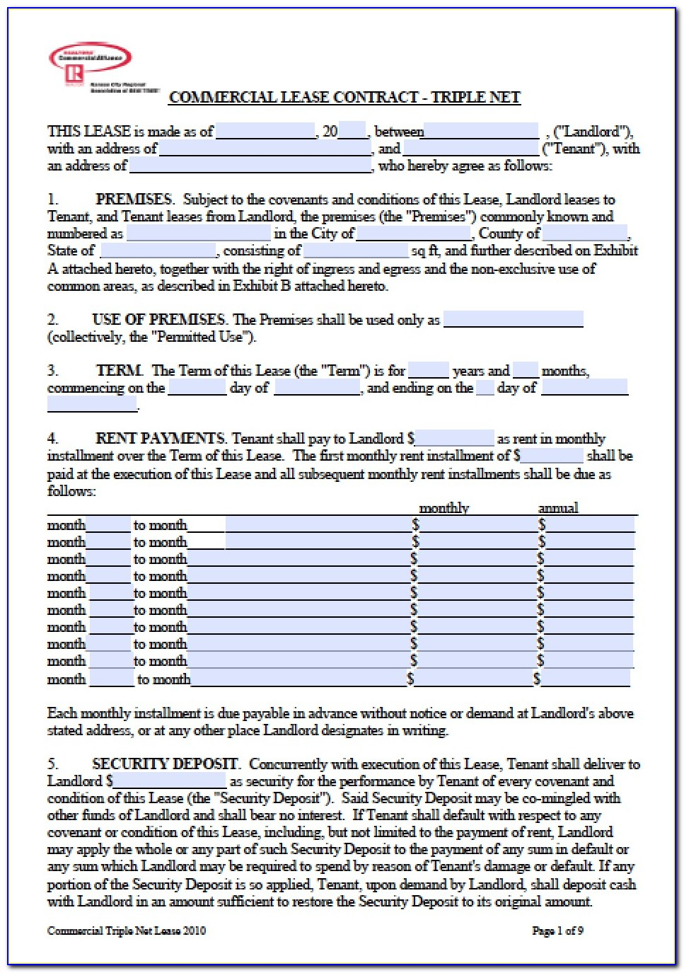 Free Commercial Triple Net Lease Form