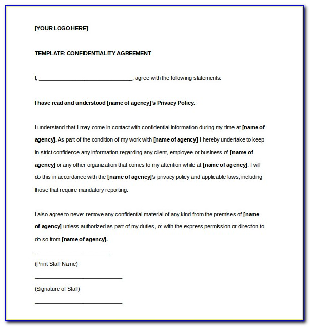 Free Confidentiality Agreement Form Template