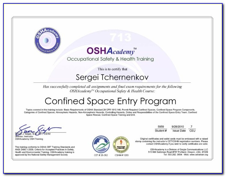 Free Confined Space Entry Permit Template