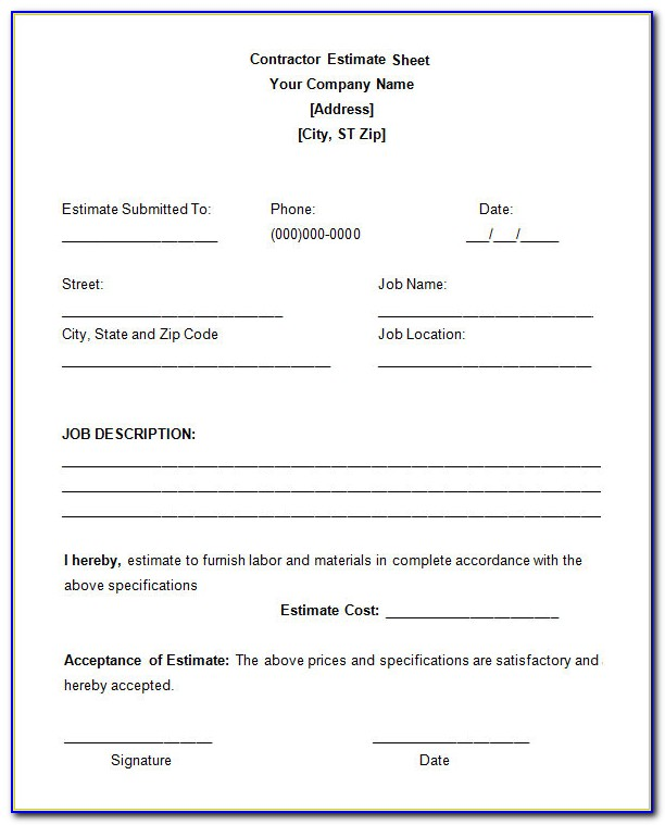 Free Construction Estimate Template For Mac