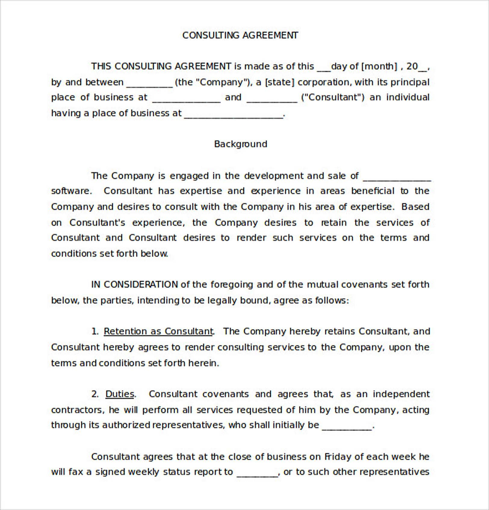 Free Consultancy Agreement Template South Africa