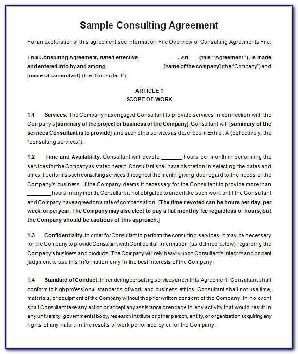 Free Consulting Contract Template Uk
