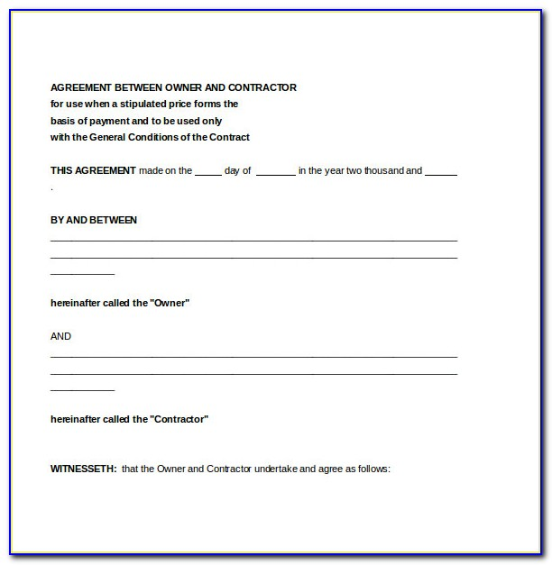 Free Contractor Agreement Template Word