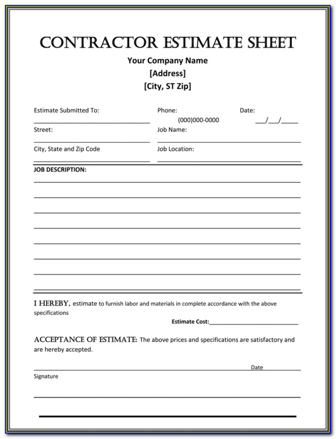 Free Contractor Estimate Template Word