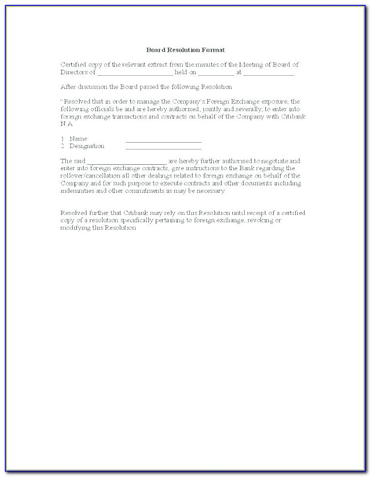 Free Corporate Banking Resolution Template
