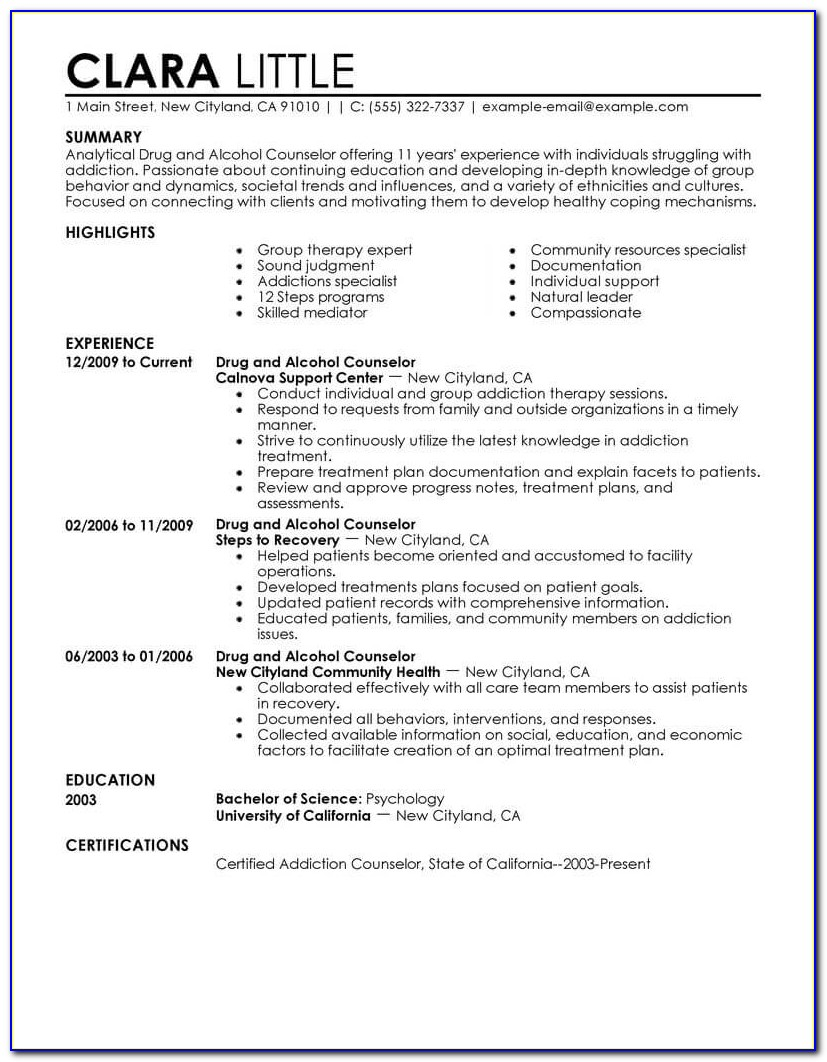 Free Counselor Resume Templates