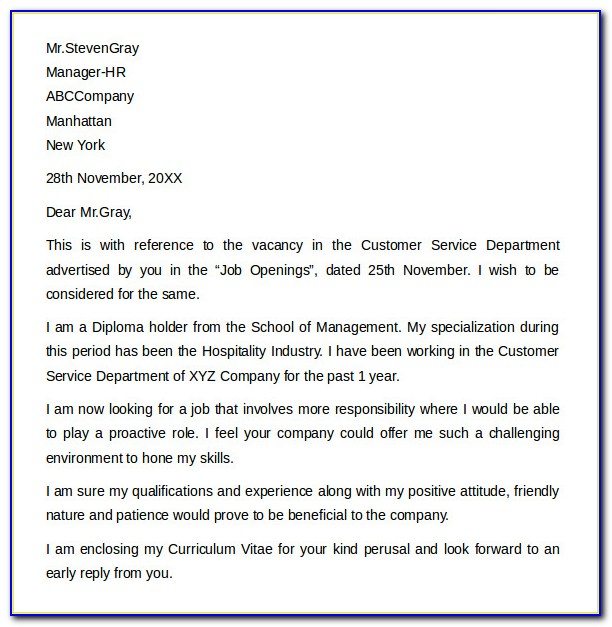 Free Cover Letter Samples For Customer Service Representative