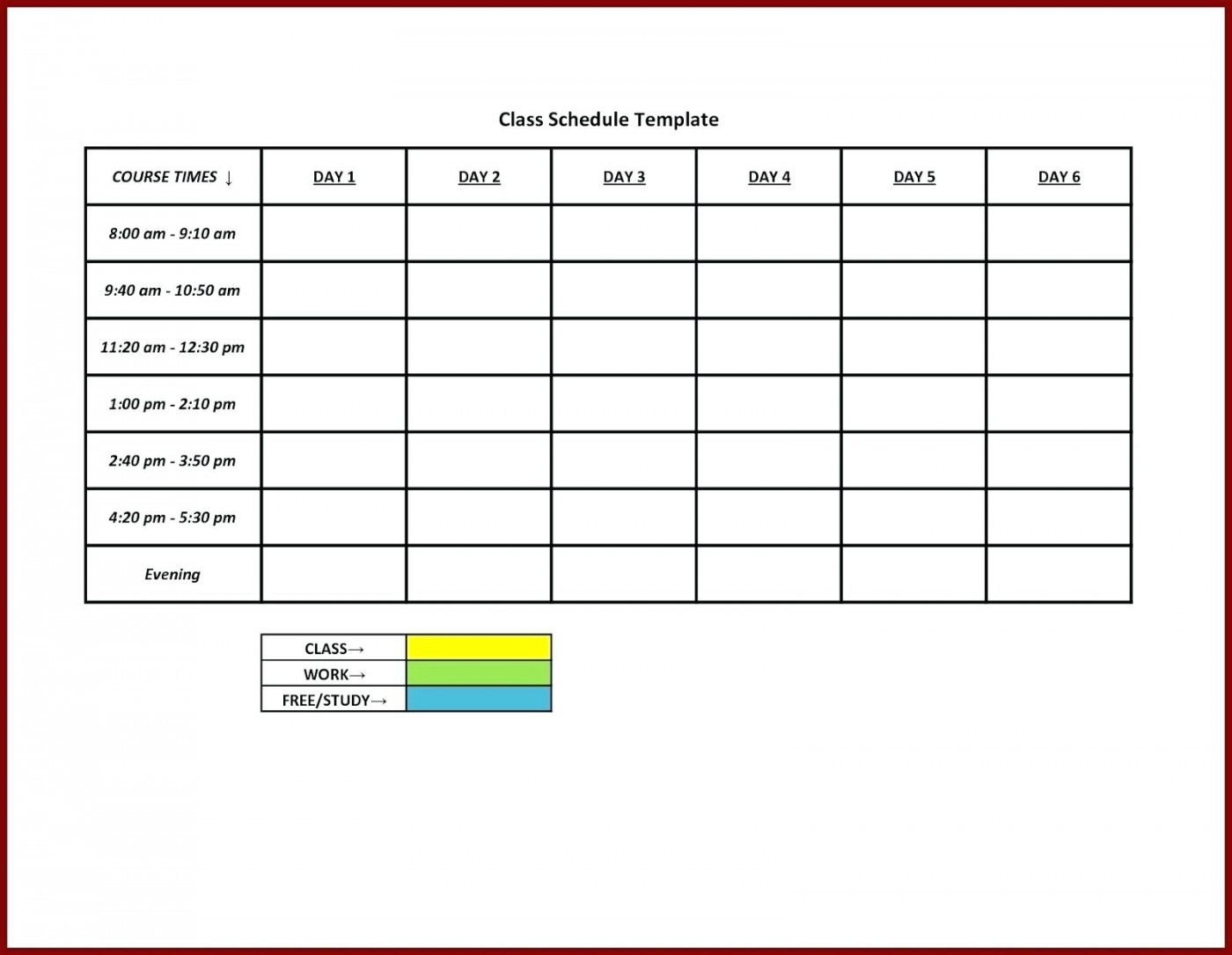 Free Daily Work Schedule Template Excel