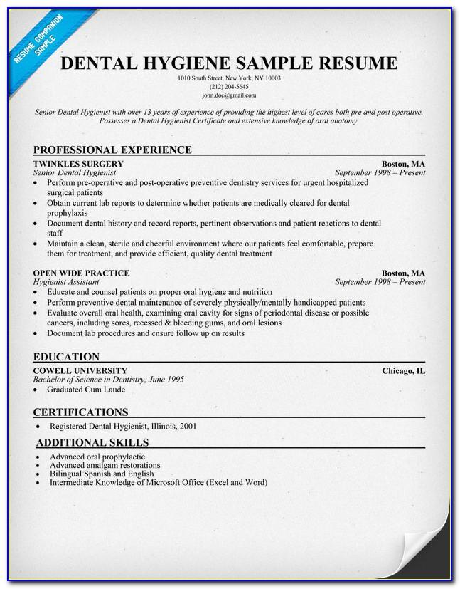 Free Dental Hygiene Resume Templates Vincegray2014