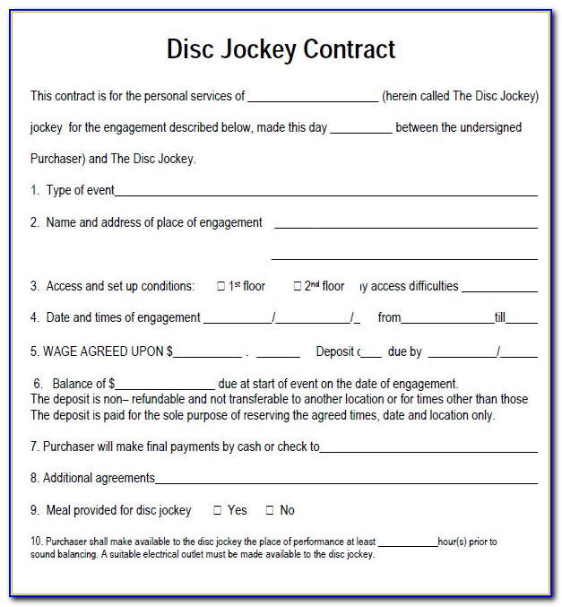 Free Dj Contract Template Pdf