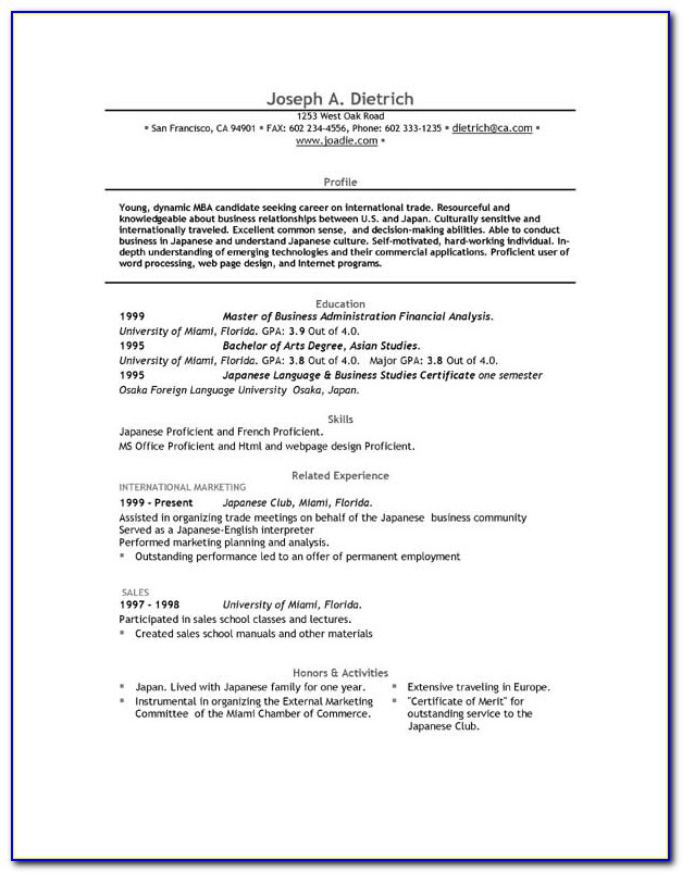 Free Download Professional Cv Format In Ms Word