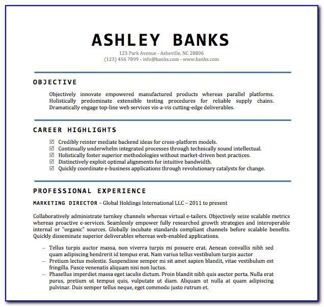 Free Download Resume Format In Word File