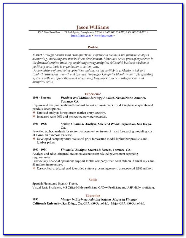 Free Download Sample Resume Format For Freshers
