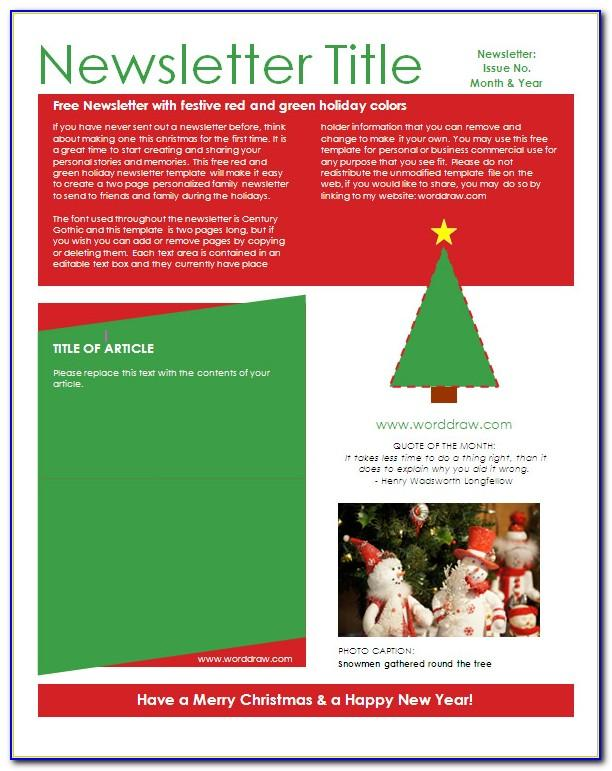 Free Downloadable Christmas Newsletter Templates For Word