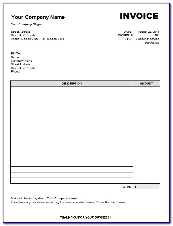 Free Downloadable Invoice Templates Excel