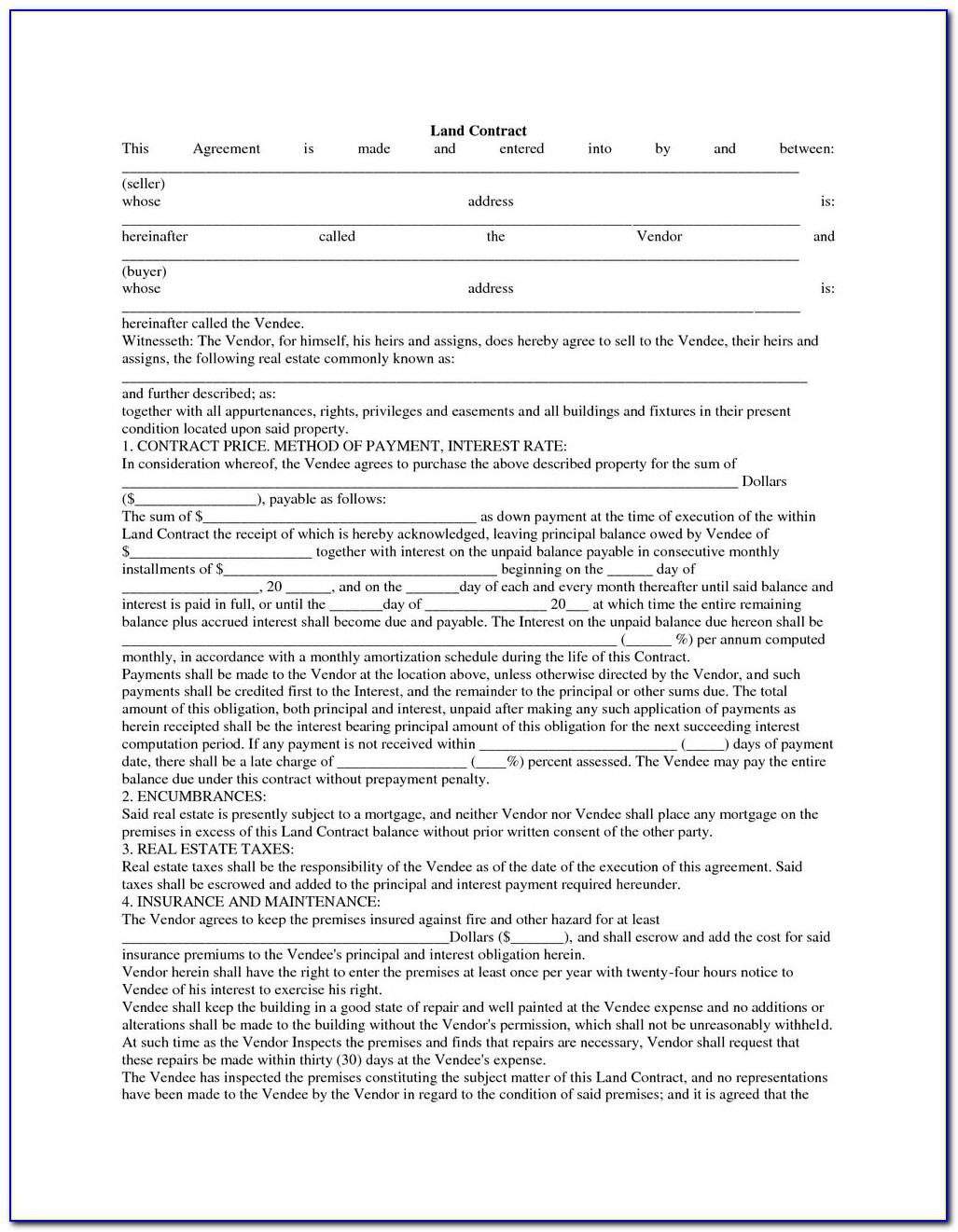 Free Downloadable Land Contract Forms Michigan