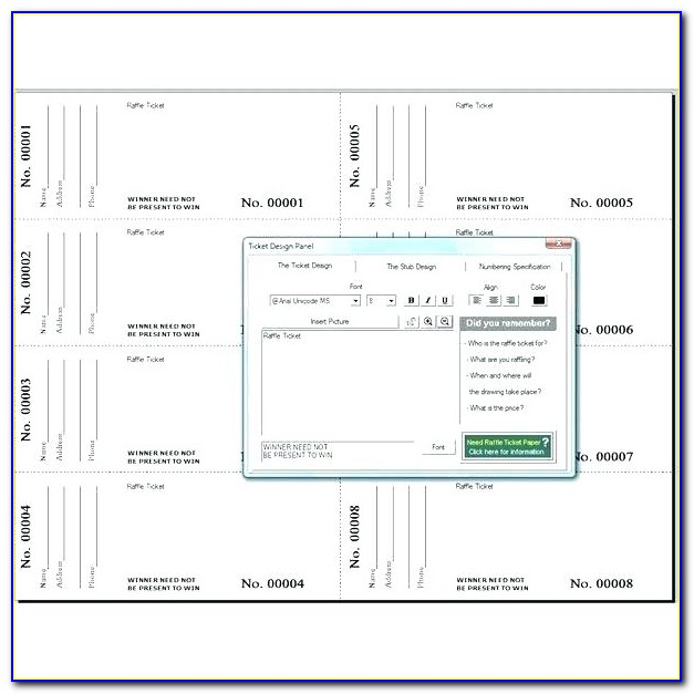 Free Downloadable Templates For Raffle Tickets