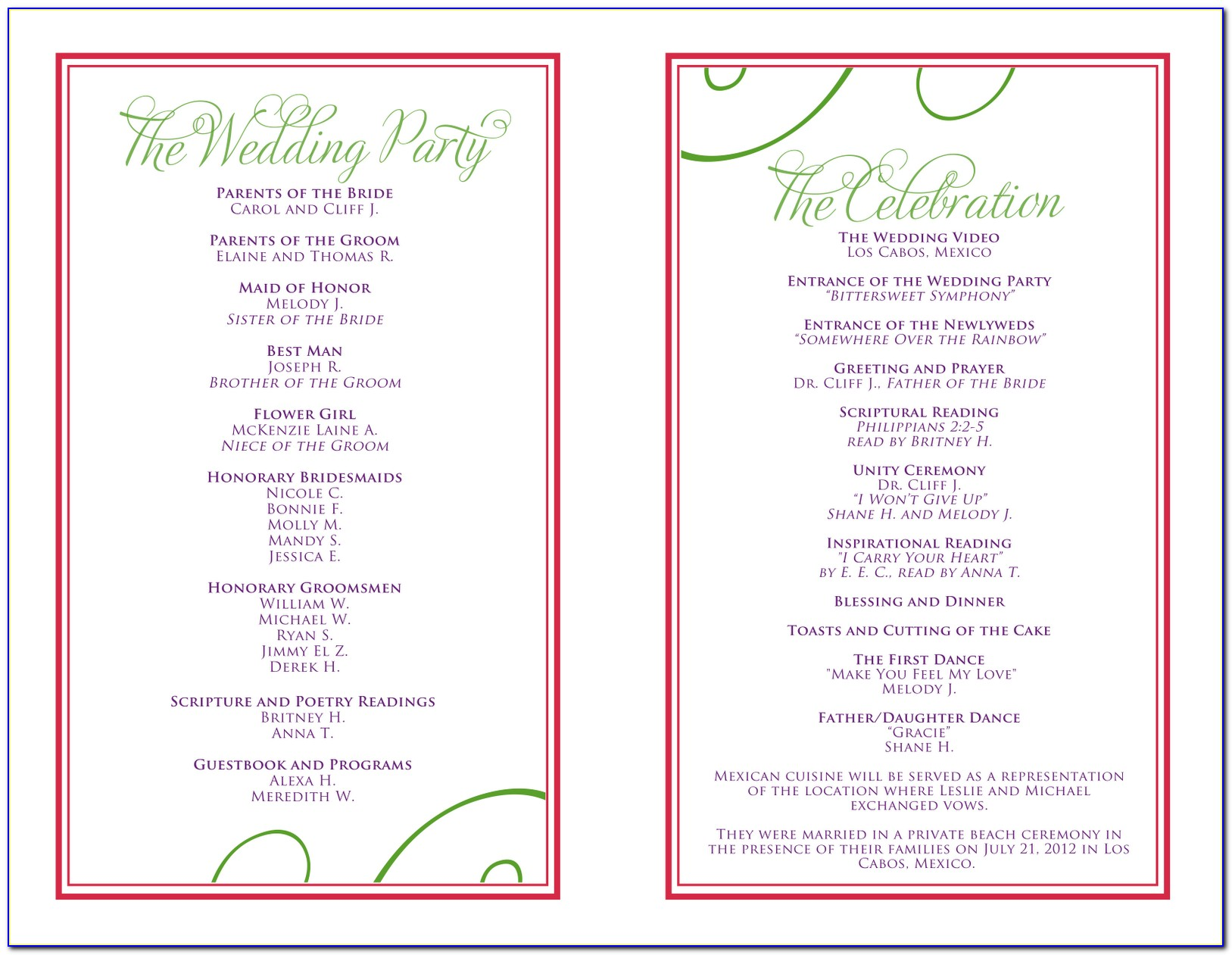 Free Downloadable Wedding Reception Program Template That Can Be Printed
