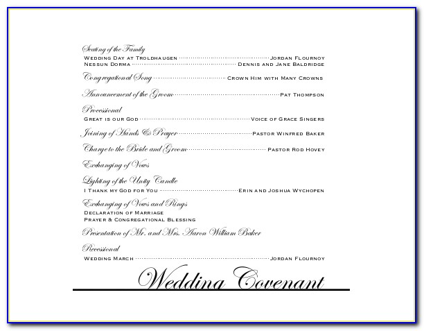 Free Downloadable Wedding Reception Program Templates Microsoft Word