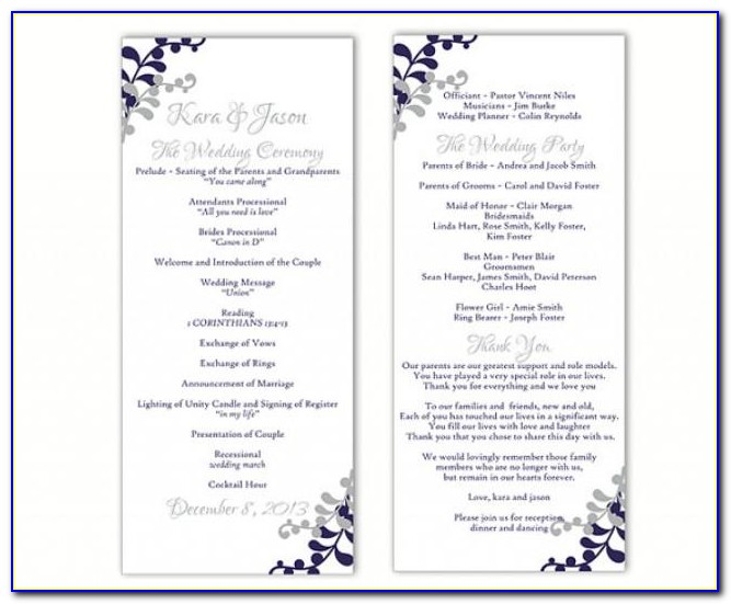 Free Downloadable Wedding Reception Program Templates