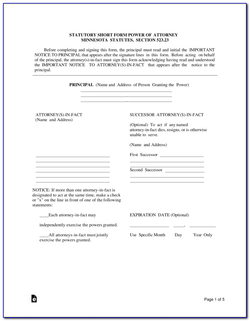 Free Durable Power Of Attorney Form Minnesota