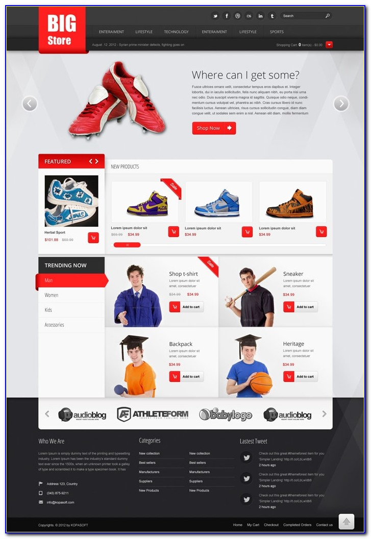 Free Ecommerce Web Template Psd