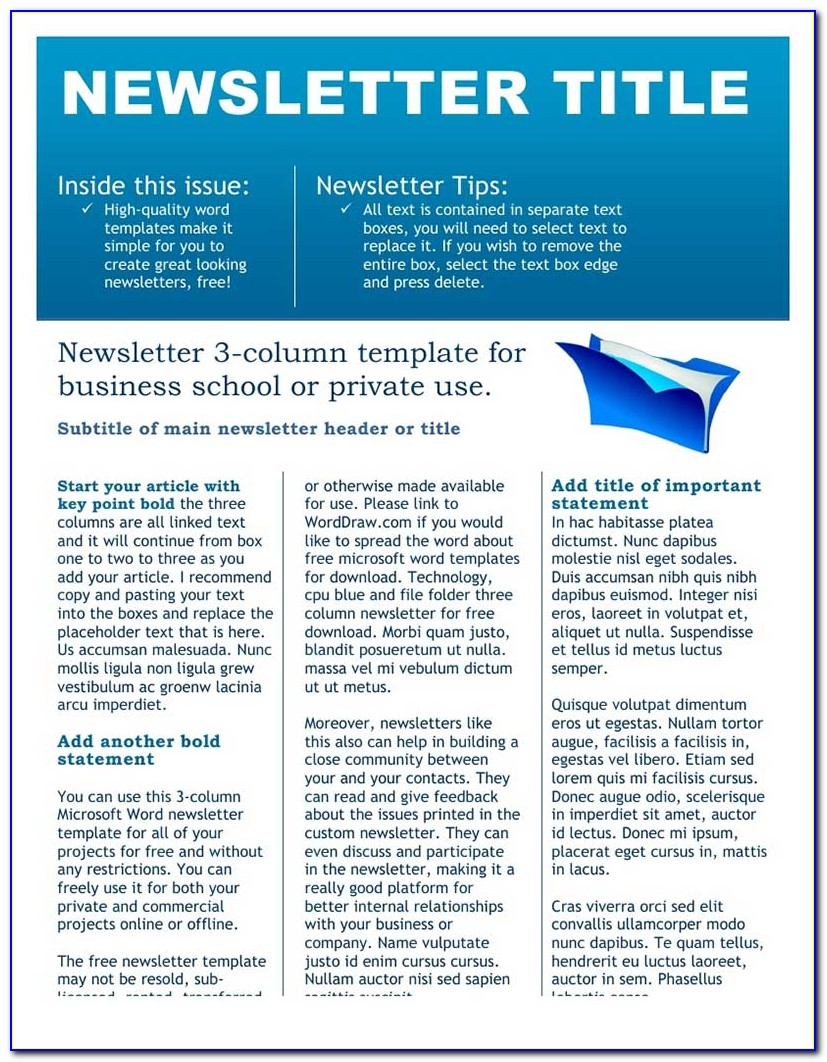 Free Editable Newsletter Templates For Business
