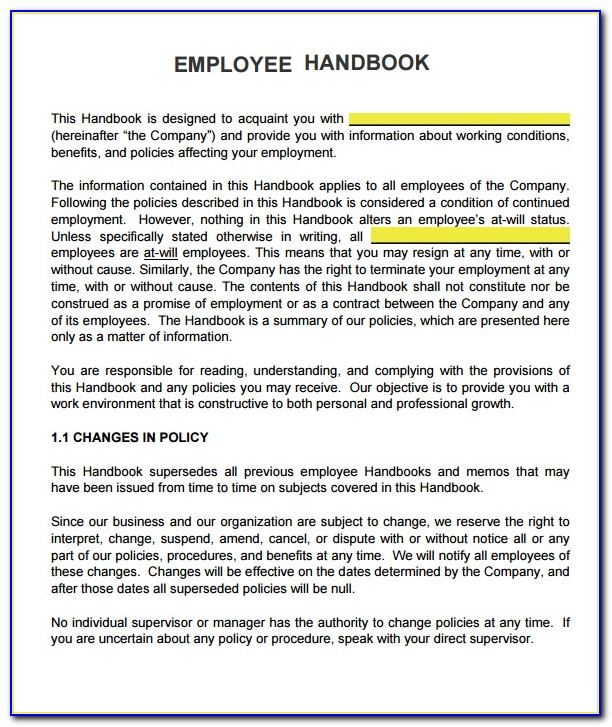 Free Employee Handbook Template For Small Business Uk