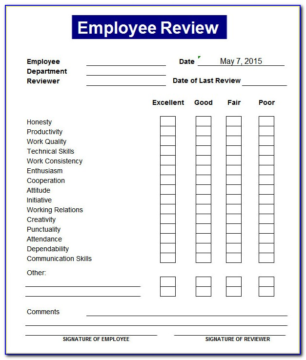Free Employee Performance Review Template Excel
