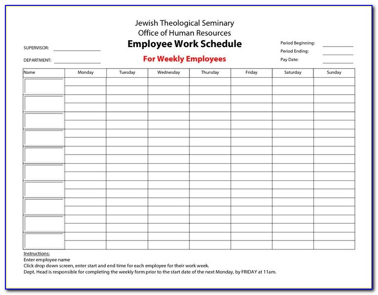 Free Employee Training Schedule Template