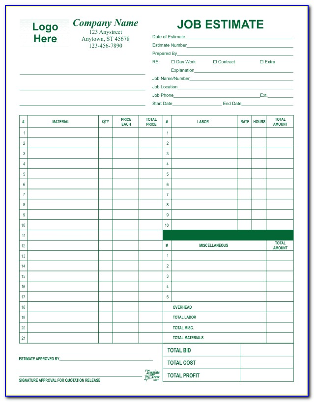 Free Estimate Forms For Roofing