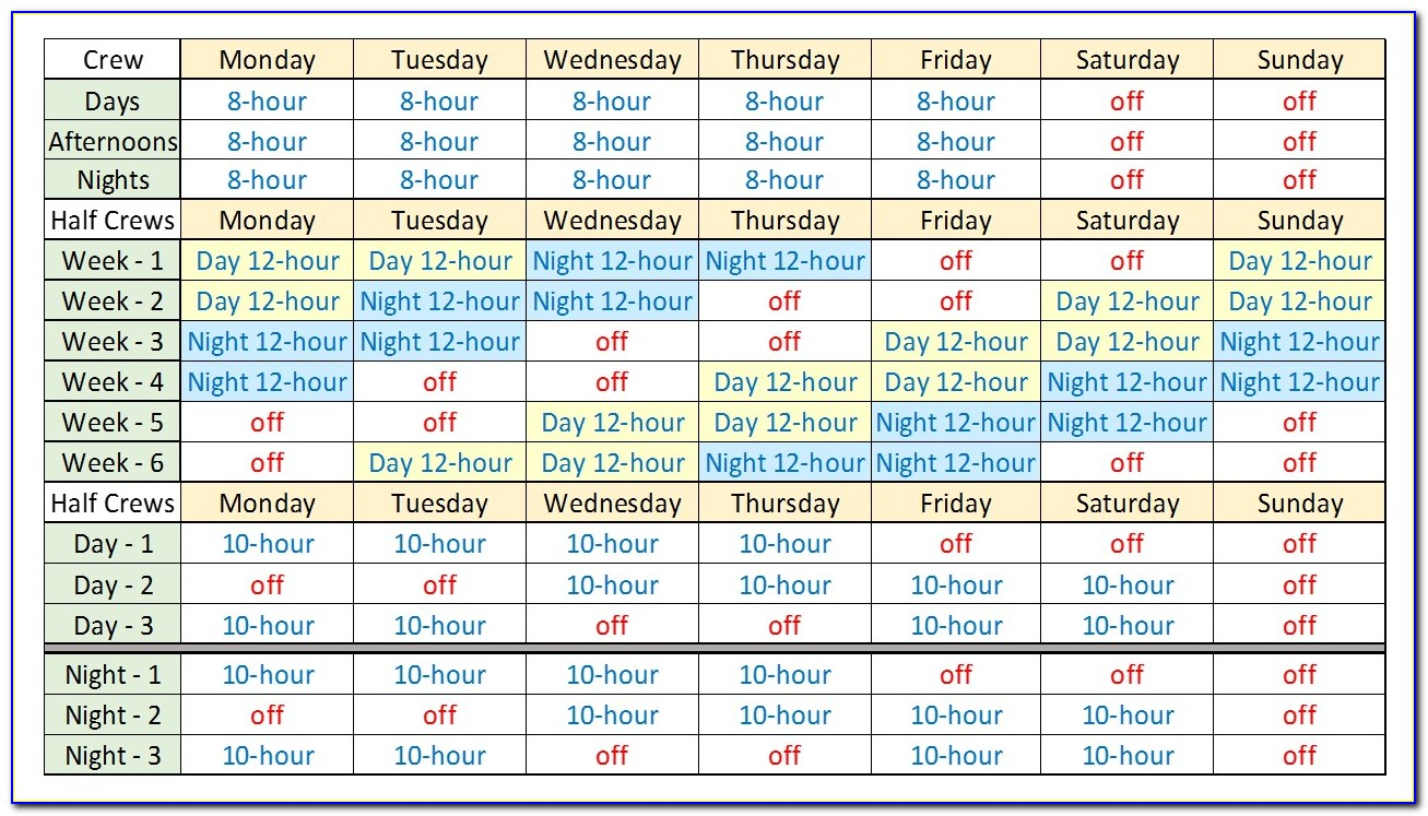 Free Excel 12 Hour Shift Schedule Template Vincegray2014