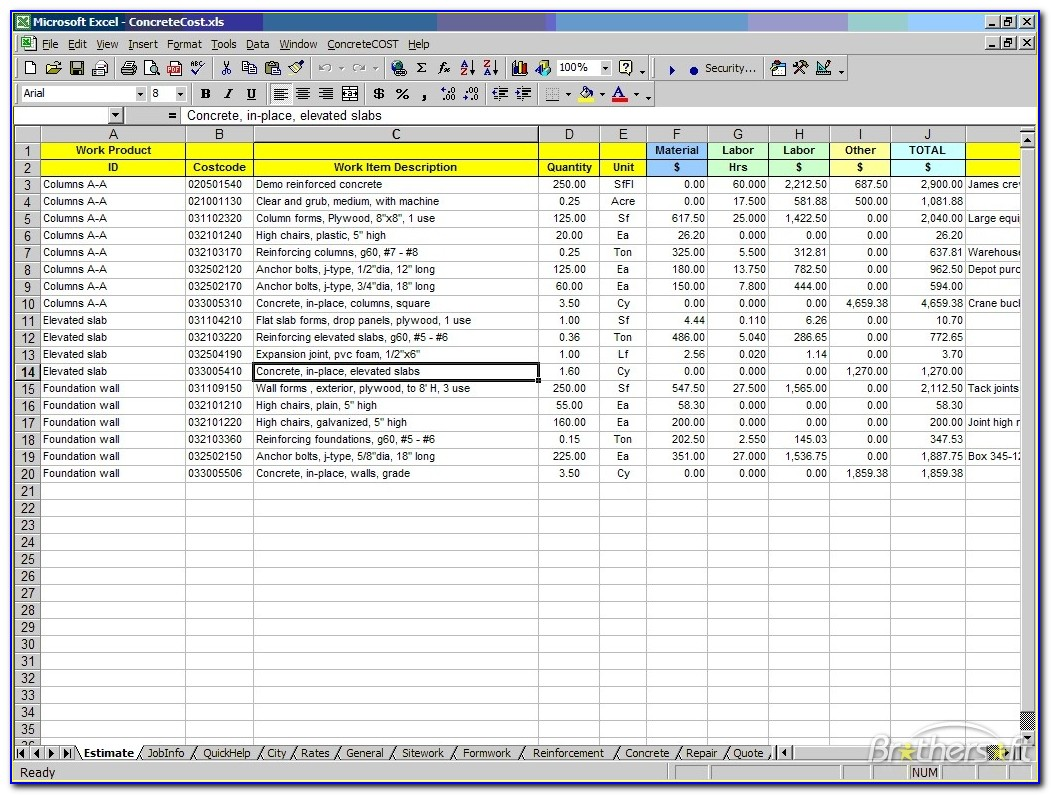 Free Excel Construction Cost Templates