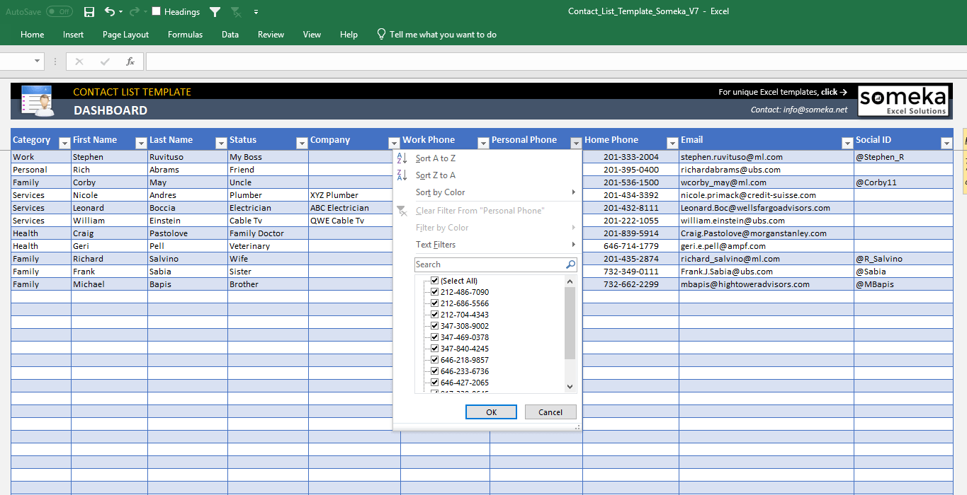 Free Excel Contact Database Template