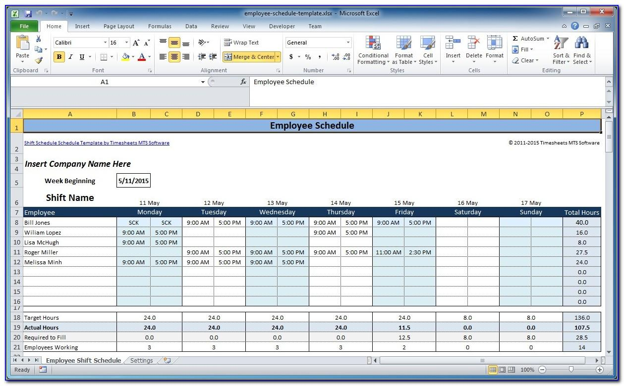Free Excel Employee Shift Schedule Template