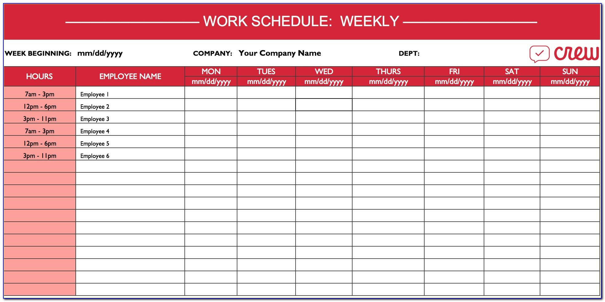 Free Excel Monthly Work Schedule Template