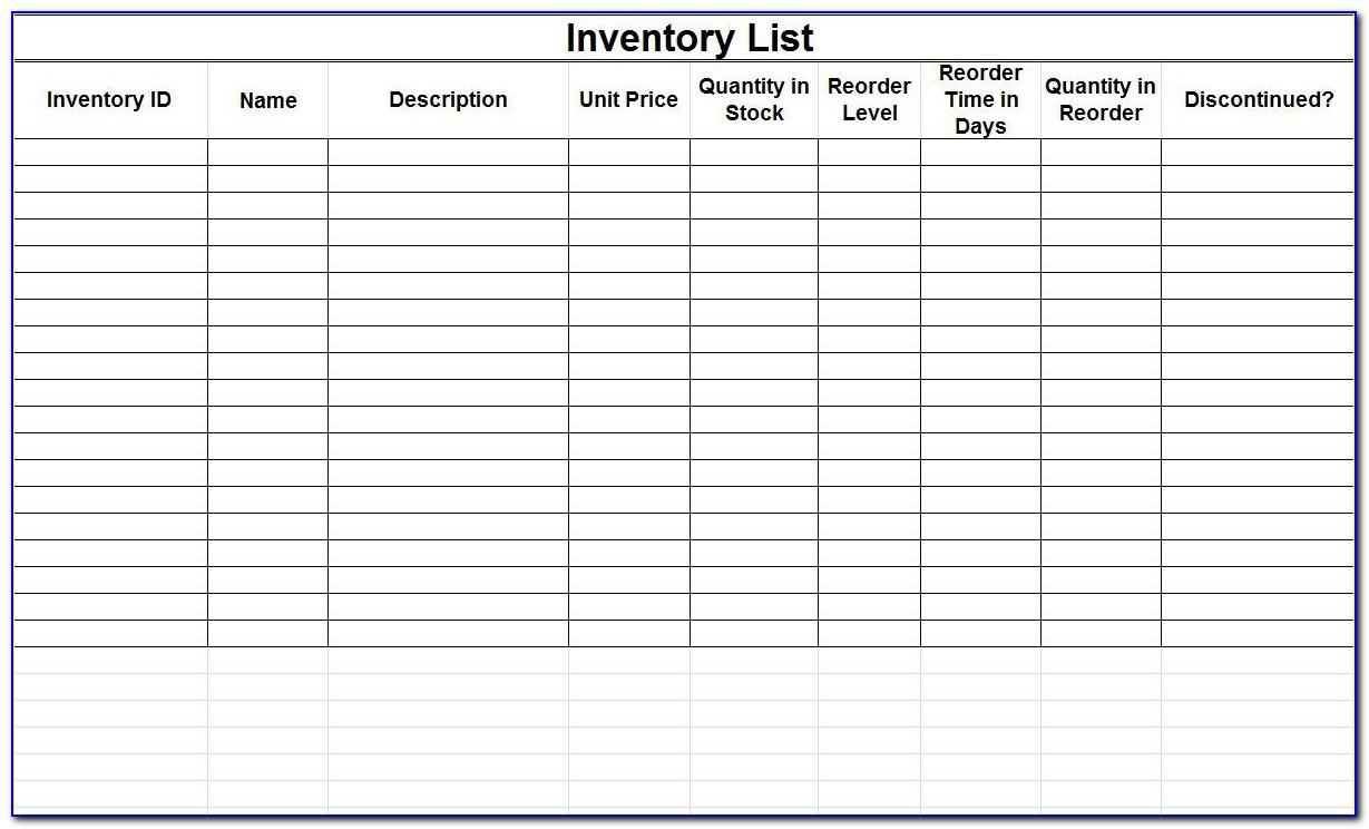 Free Excel Templates Inventory Management