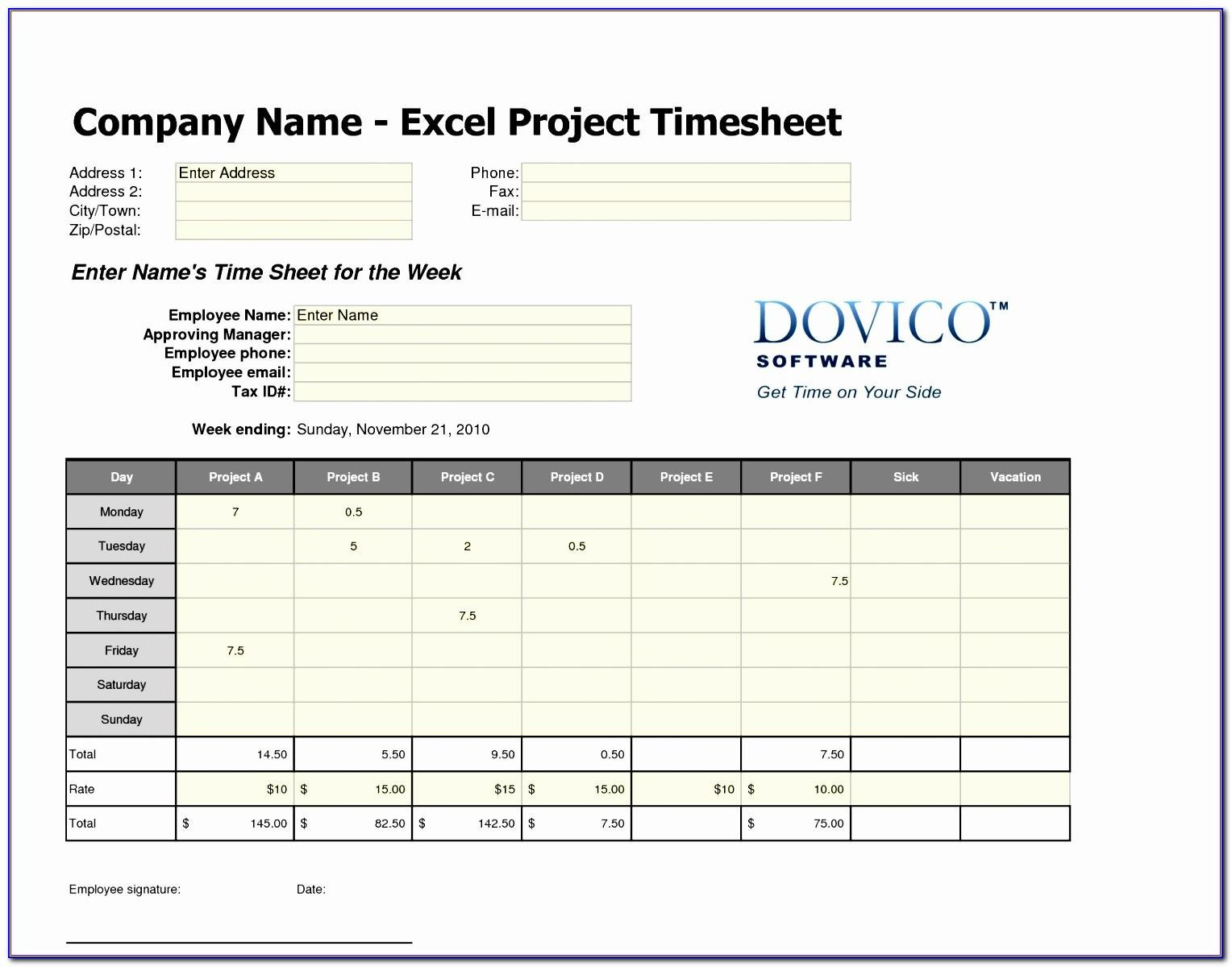 Free Excel Timesheet Template For Multiple Employees