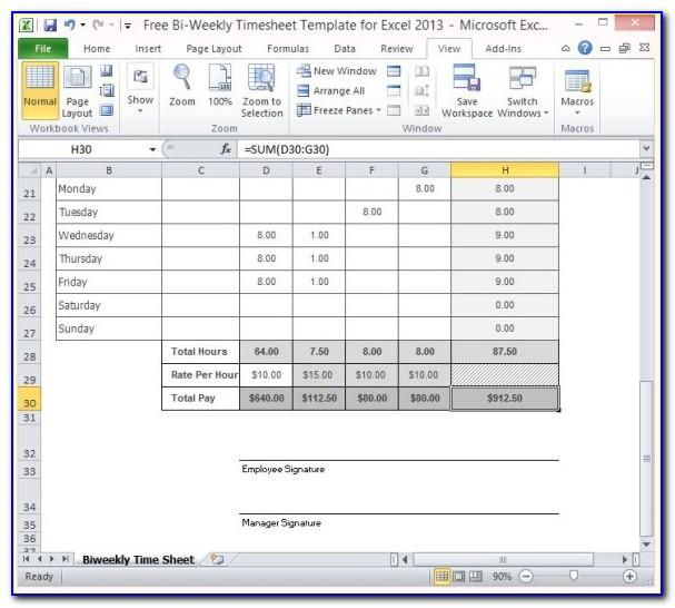 Free Excel Timesheet Template With Tasks