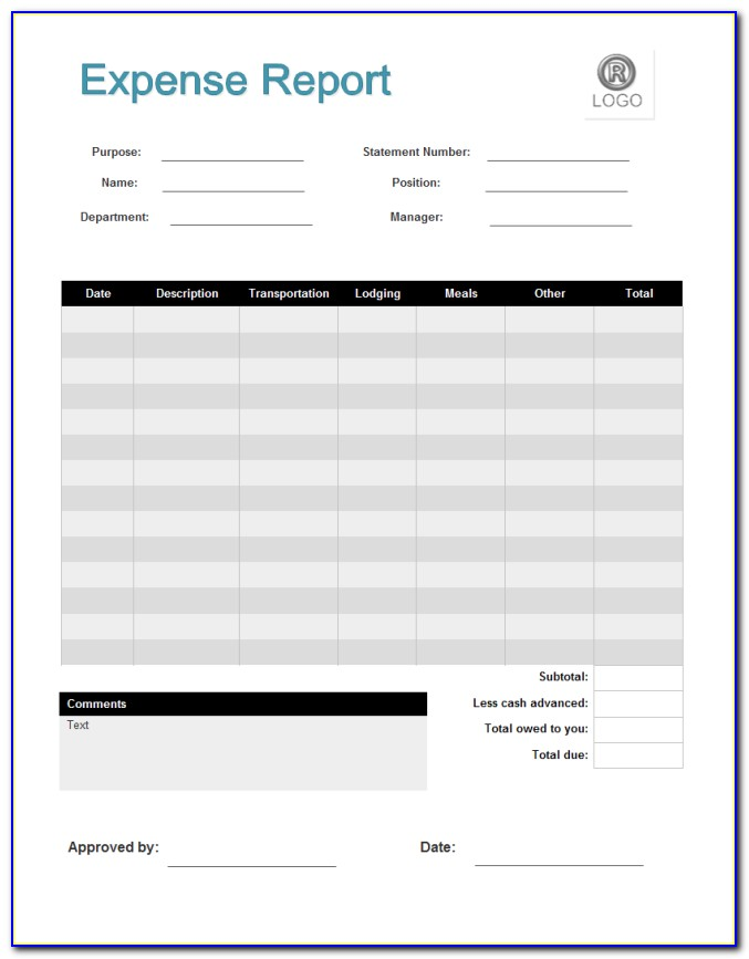 Free Expense Report Form Excel