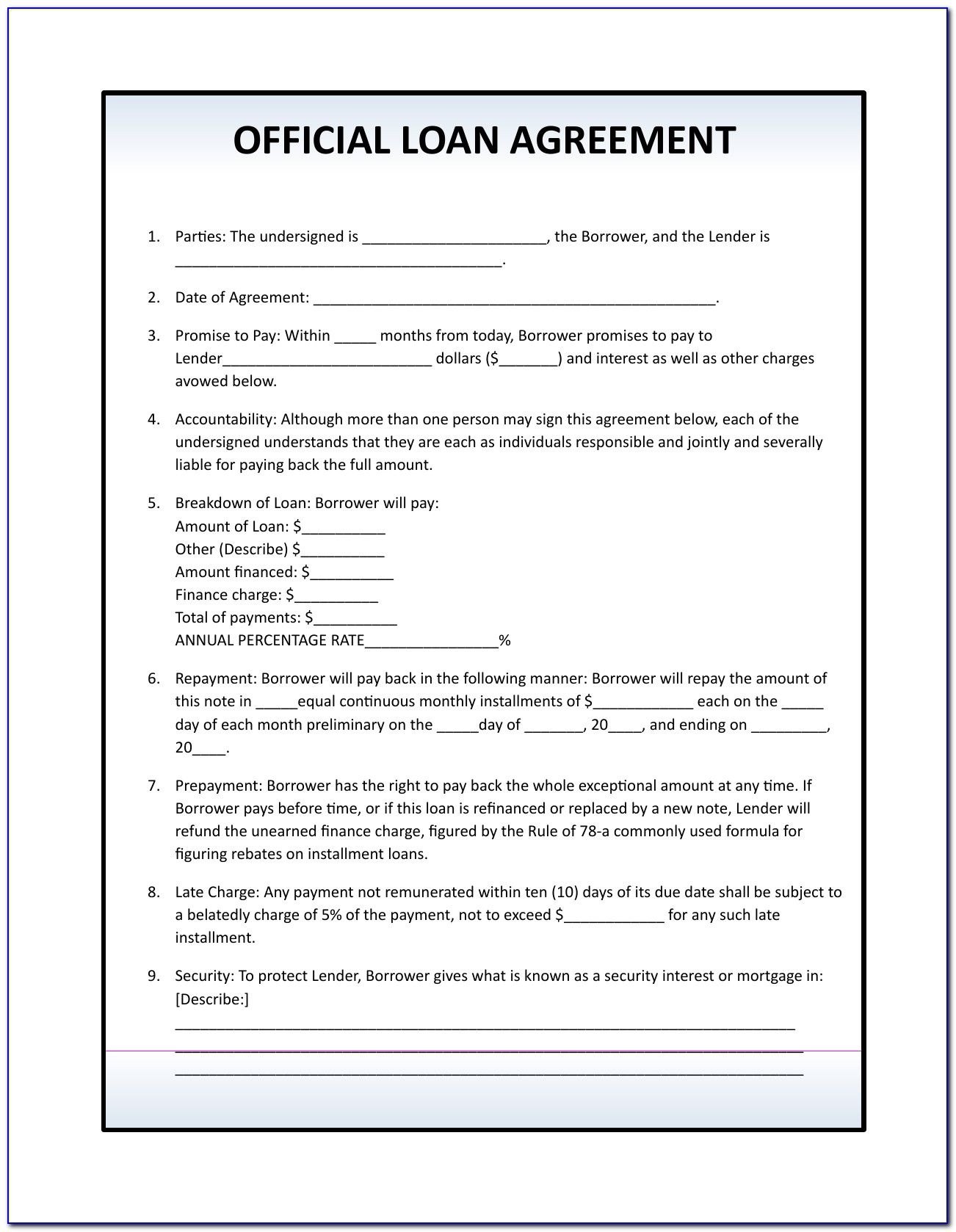 Free Family Loan Agreement Form